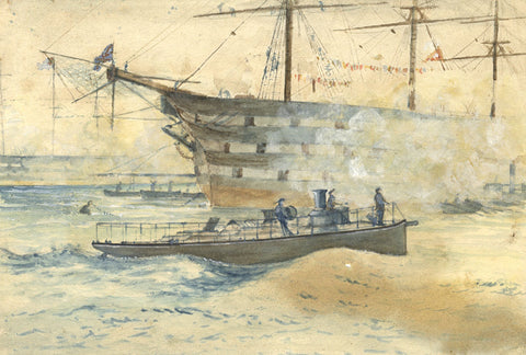 Torpedo Boat in Portsmouth Harbour - Original 19th-century watercolour painting