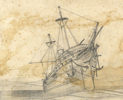 Sailing Ship on Approach - Original 19th-century graphite drawing