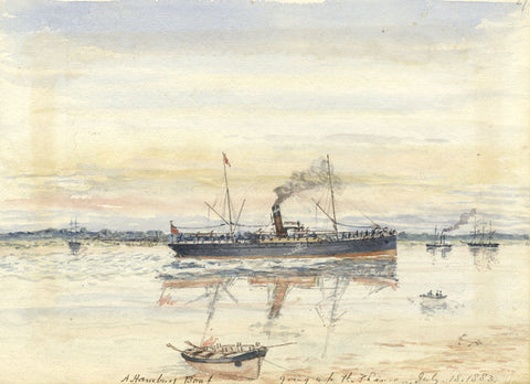 Hamburg Steamboat on the Thames - Original 1883 watercolour painting