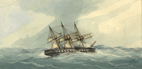 Sloop of War in Choppy Waters - Original 19th-century watercolour painting