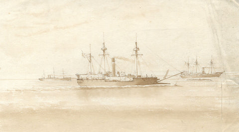 Sepia Steamship, Calm Waters - Original 19th-century watercolour painting