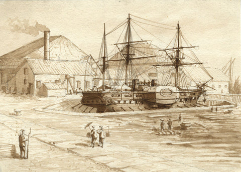 Sepia Sailing Ship in Dry Dock - Original 19th-century watercolour painting