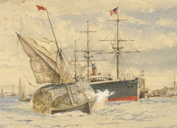 American Ensign Steamship Entering Harbour - Original 19th-century watercolour painting