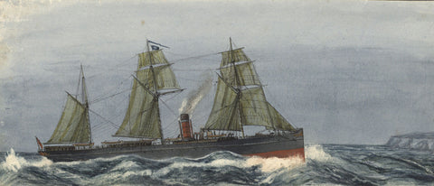 Allan Line Steamship Samaritan - Original 19th-century watercolour painting