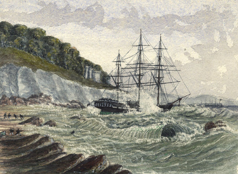 Sailing Boat Pulled Ashore - Original 19th-century watercolour painting