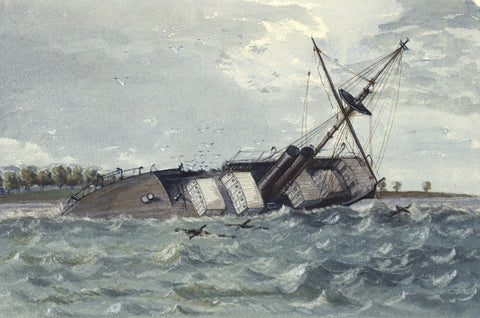 Wreck of the Mail Steamer Colombo - Original 19th-century watercolour painting