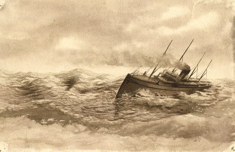 Sepia Steamship Ploughing through Water - Original 19th-century watercolour painting