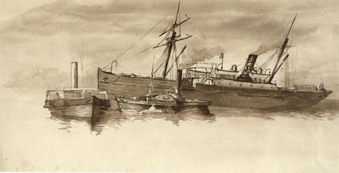 Sepia Trio of Steamship, Boat & Tug - Original 19th-century watercolour painting