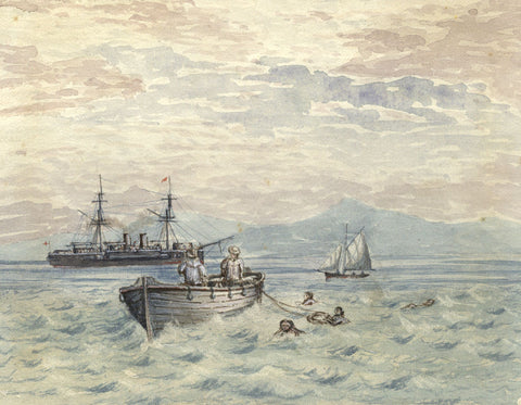 Steamship Boat Rescue in the Mediterranean - Original 19th-century watercolour painting