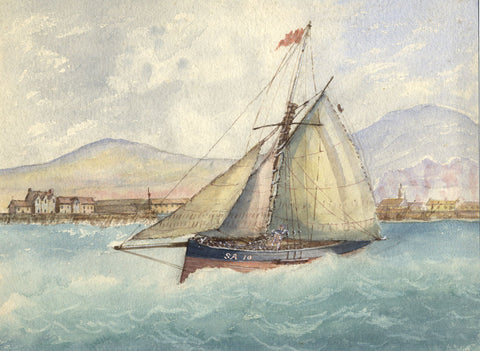 "Sailing Boat ""SA 10"" Leaving Harbour - Original 19th-century watercolour painting"