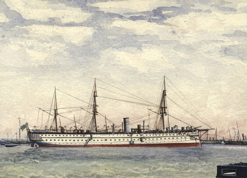 HMS Trooper Serapis in Portsmouth Harbour - Original 1882 watercolour painting