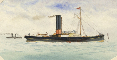 Paddle Steamboat - Original 19th-century watercolour painting