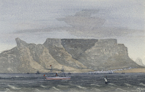 Steamship, Cape of Good Hope - Original 1881 watercolour painting