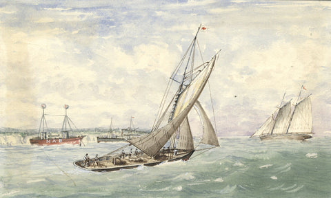 Yachting with Fishing Trawler - Original 19th-century watercolour painting