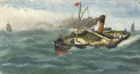 Tug Paddle Steamboat, Sam Co - Original 19th-century watercolour painting