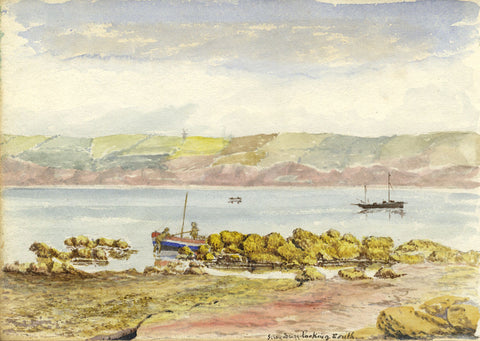 Boats at Filey Brigg, Yorkshire Coast - Original 19th-century watercolour painting