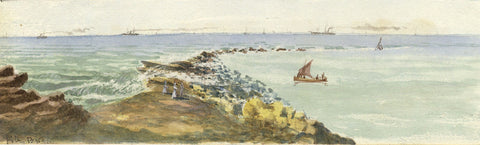 Figures on Filey Brigg, Yorkshire Coast - Original 19th-century watercolour painting