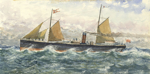 SS Flora Steamship - Original 1883 watercolour painting