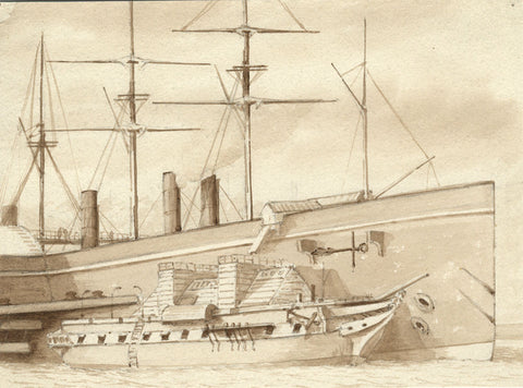 Sepia Steamship in Portsmouth Dock - Original 19th-century watercolour painting
