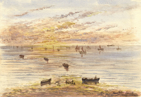 Landing Fish, Whitby, Yorkshire - Original 19th-century watercolour painting