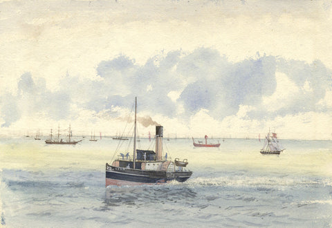 "Steam Tug Boat ""Lynx"" - Original 19th-century watercolour painting"