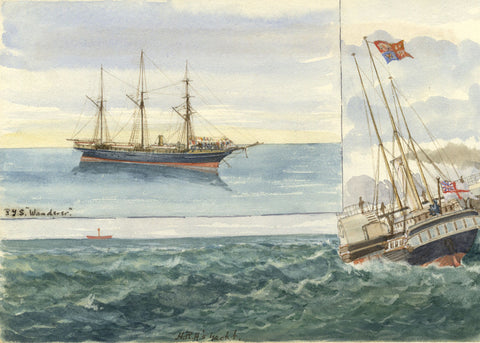 RYS Wanderer Steam Yacht & HRH's Yacht - Original 19th-century watercolour painting