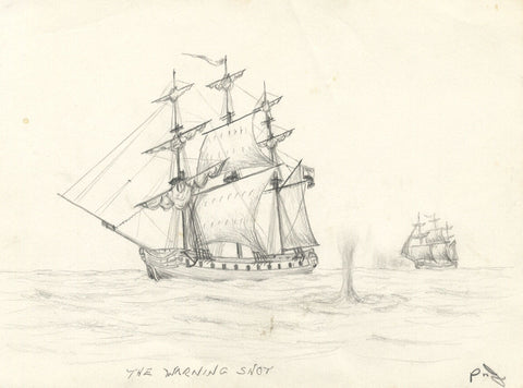 Tall Ship Firing Cannon - Original early 20th-century graphite drawing