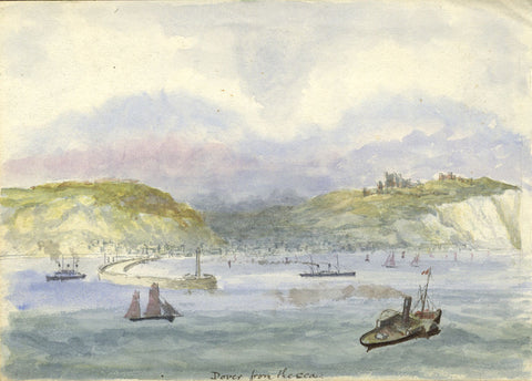 Dover from the Sea with Harbour Wall - Original 19th-century watercolour painting