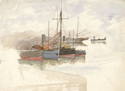 Steam Tug Boats in Harbour - Original 19th-century watercolour painting