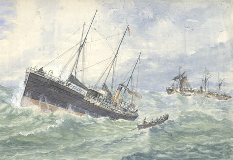Loss of the Clan Macduff, Upupa going to the Rescue - Original 1881 watercolour painting