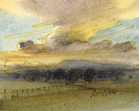 David Hutter, Landscape with Clouds - Original mid-20th-century watercolour painting