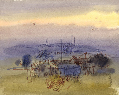 David Hutter, Coastal Landscape - Original mid-20th-century watercolour painting