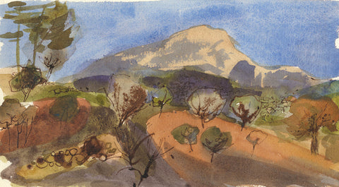 David Hutter, Landscape, Provence - Original mid-20th-century watercolour painting