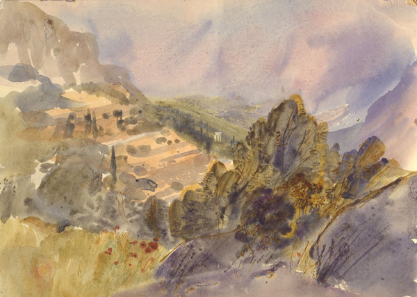 David Hutter, Hillside, Provence - Original mid-20th-century watercolour painting