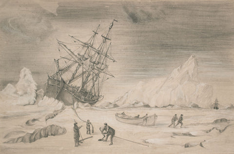 Arctic Exploration, Sailing Yacht Eira - Original 19th-century graphite drawing