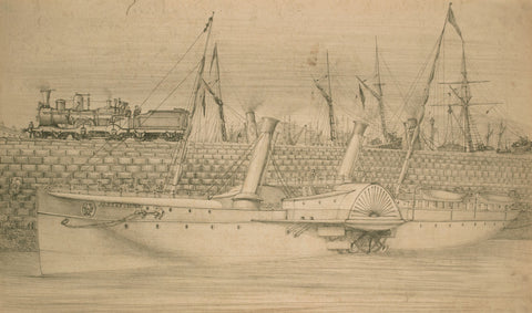 Paddle Steamer Albert Victor in Harbour - Original 19th-century graphite drawing