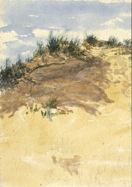 Coastal Beach Sand Dunes - Original 19th-century watercolour painting