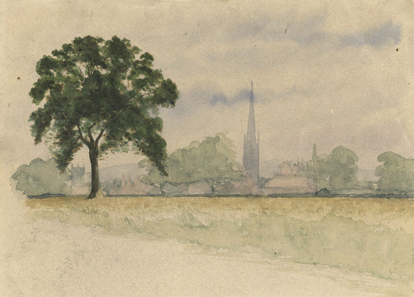 Cathedral View - Original 19th-century watercolour painting
