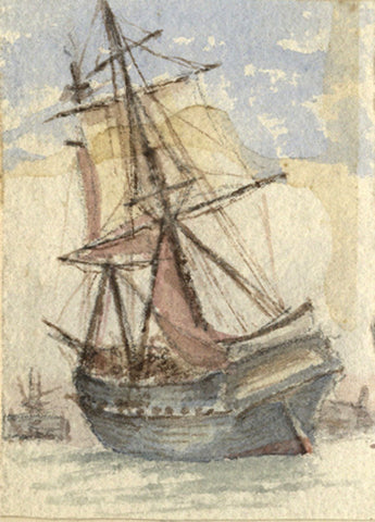 A Stranded Collier Ship, Thames - Original 19th-century watercolour painting