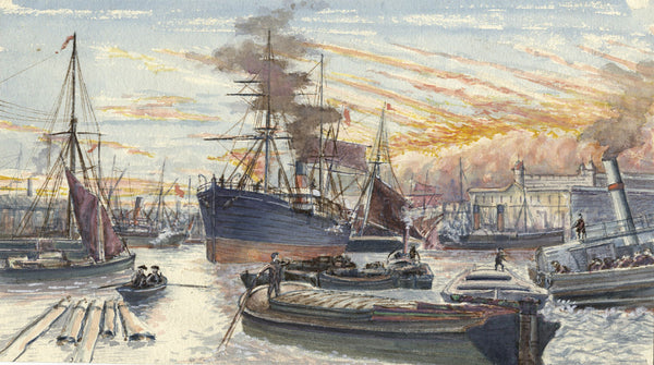 Ships in the Upper Pool, Thames, London - Original 19th-century watercolour