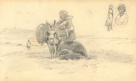 George E Corner, Packed Donkey, Normandy - Original 19th-century graphite drawing
