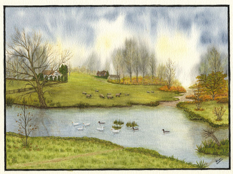 Hilda Watkins, View with Sheep and Ducks - Original 1981 watercolour painting
