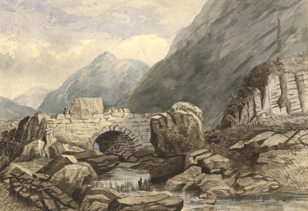 Bridge with Figures and Mountains - Original 19th-century watercolour painting