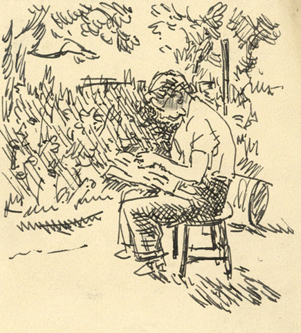 Harold Hope Read, Reading in Garden - Original early 20th-century pen & ink drawing