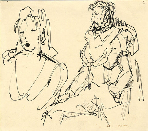 Harold Hope Read, Portrait of Actors - Original early 20th-century pen & ink drawing