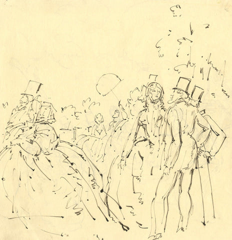 Harold Hope Read, High Life Garden Party - Original early 20th-century pen & ink drawing