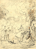 Harold Hope Read, High Life in the Park - Original early 20th-century charcoal drawing