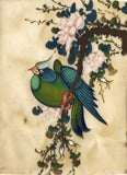Antique 19th-century Chinese Pith Painting, Green Bird on Blossom Branch
