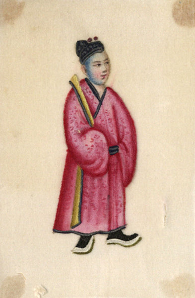 Antique 19th-century Chinese Pith Painting , Taoist Priest
