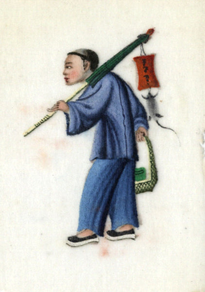 Antique 19th-century Chinese Pith Painting , Street Seller